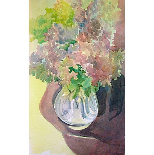 Oak Leaf Hydrangea Vase and Cloth
