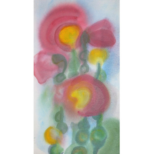 Midday Hollyhocks Abstracted