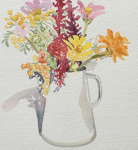 Garden Flowers in an Enamel Pitcher