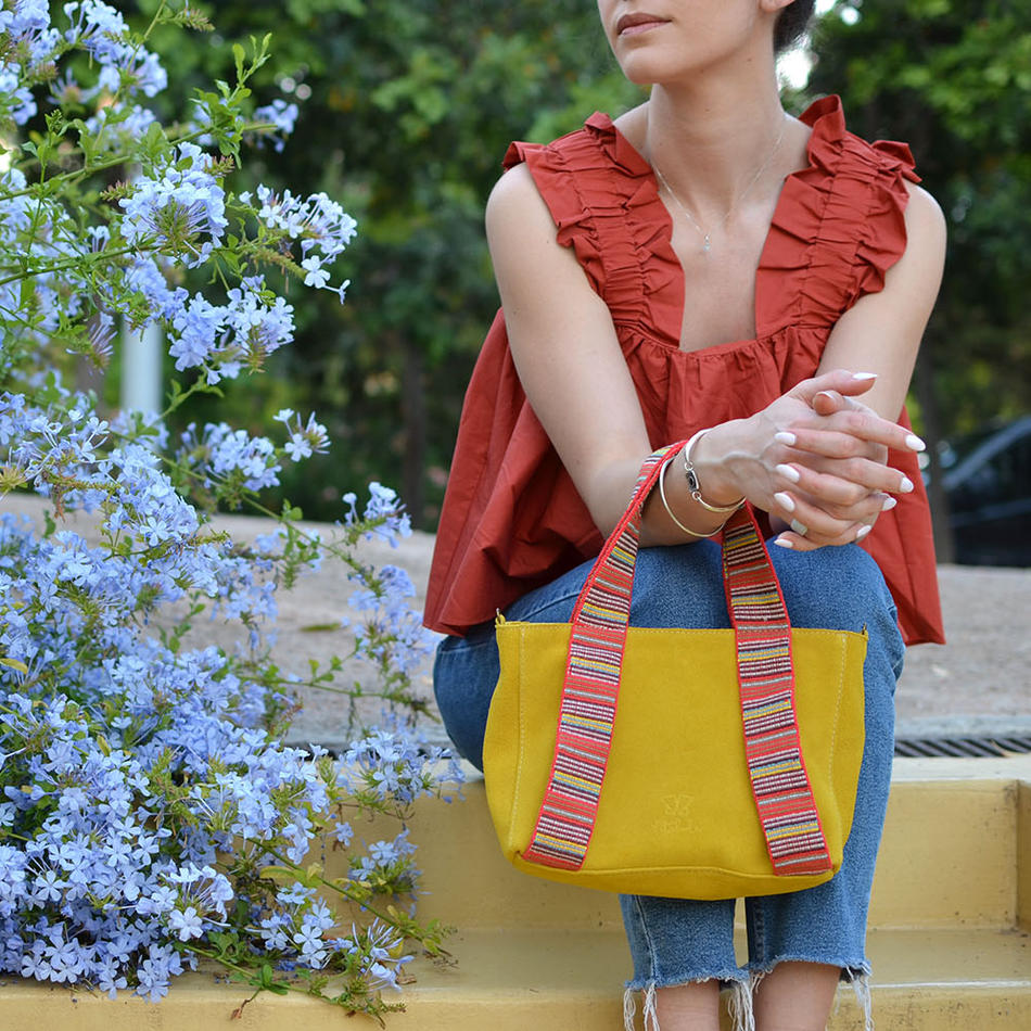 """Eugenia"" Yelow Mini Tote Bag"