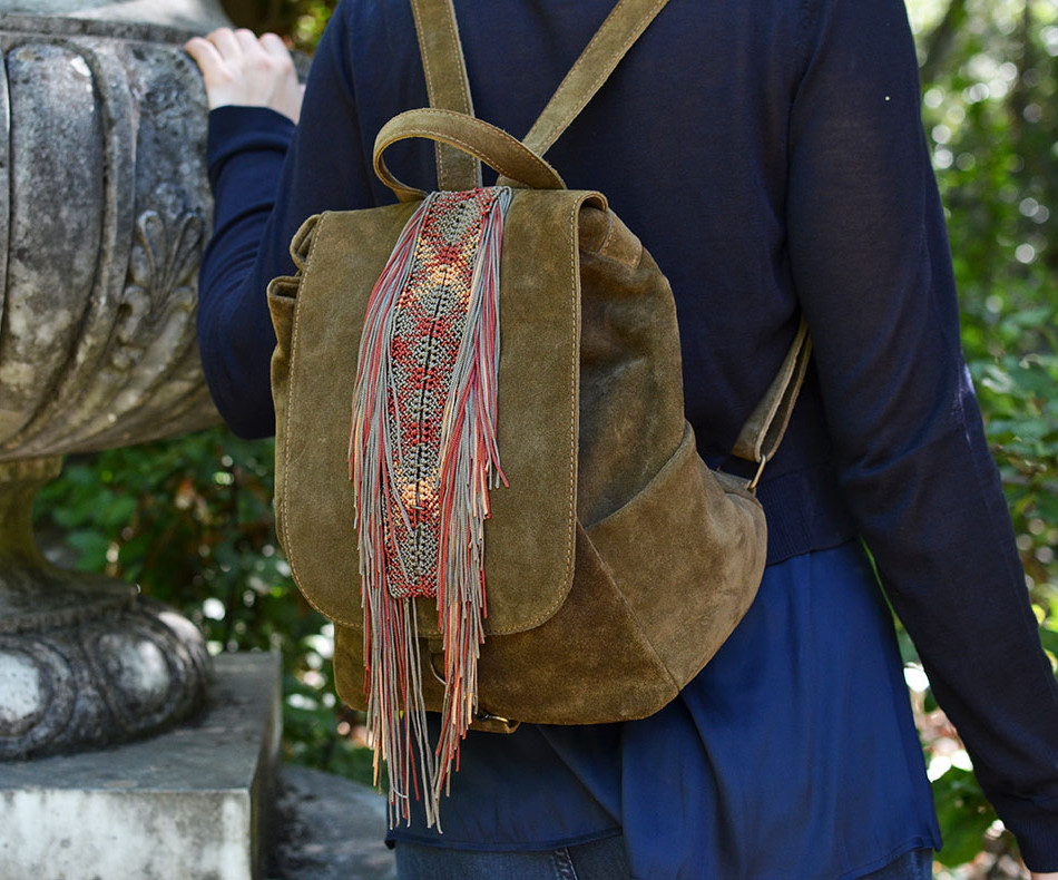 """""""Alexanor"""" Olive Green Suede Backpack"""