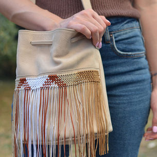 """Zenobia"" Small Beige Bag"