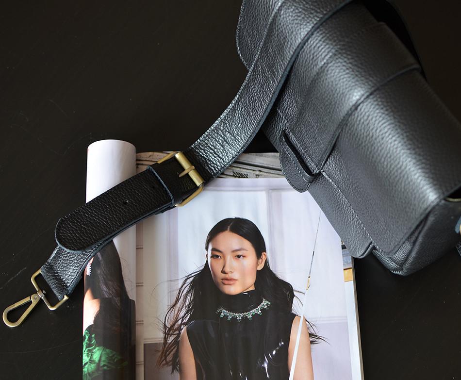 """Melitaea"" Black Cross-Body Bag"