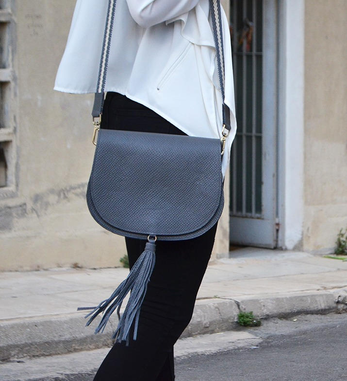 """Morpho"" Grey Shoulder Bag"