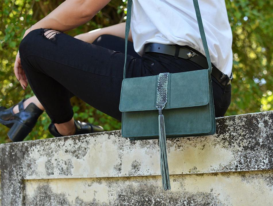 """Papilio"" Green Nubuck Box Bag"