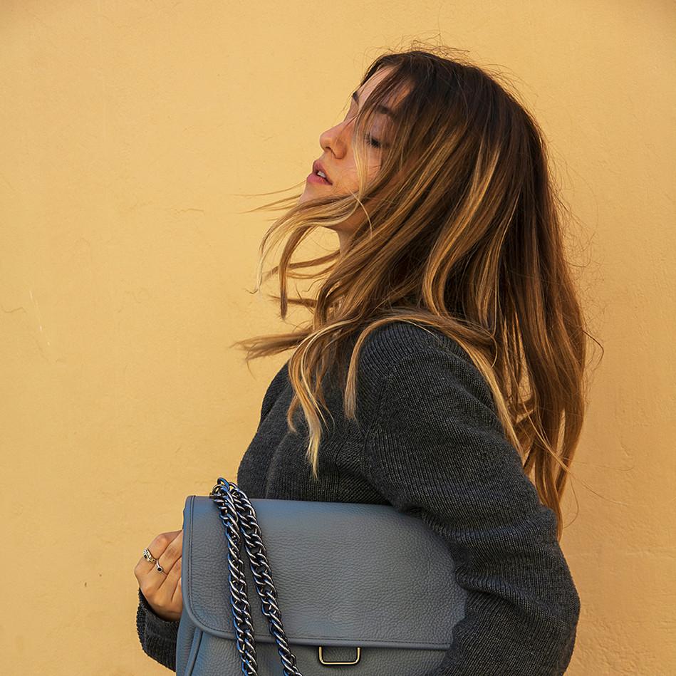 """Vanessa"" Grayish-Blue Shoulder Bag"