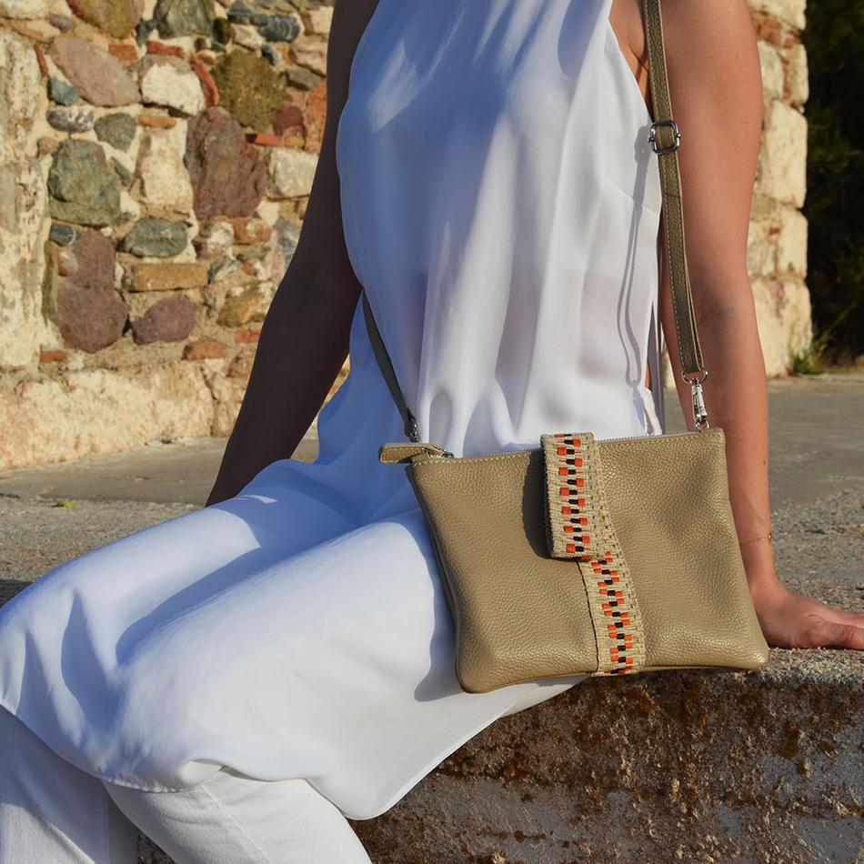 """""""Helena"""" Beige Clutch Bag"""