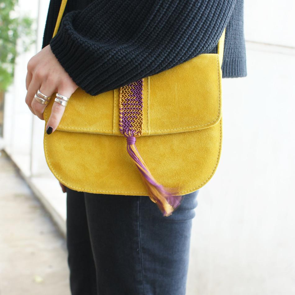 """""""Aurora"""" Yellow Mustard Macrame Cross-body Bag"""