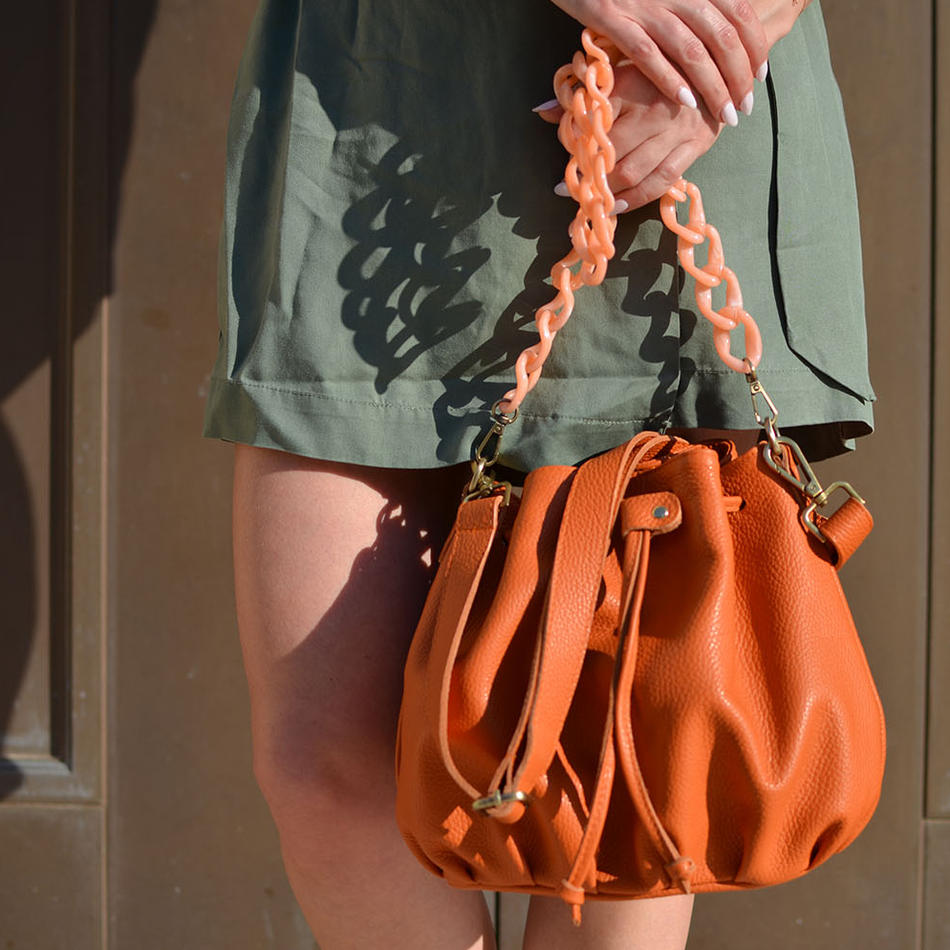 """Ekavi"" Orange Bucket Bag"