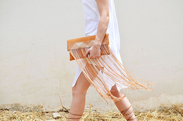 Handcrafted Leather Bag | Greek Designer | Genuine Leather | Ladies Accesories | Macrame Style