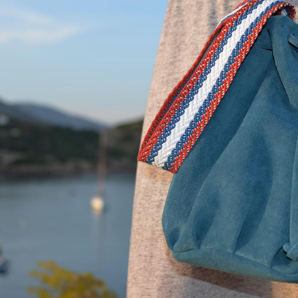 Blue Suede Bucket Bag