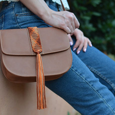 """Aurora"" Camel Macrame Cross-Body Bag"