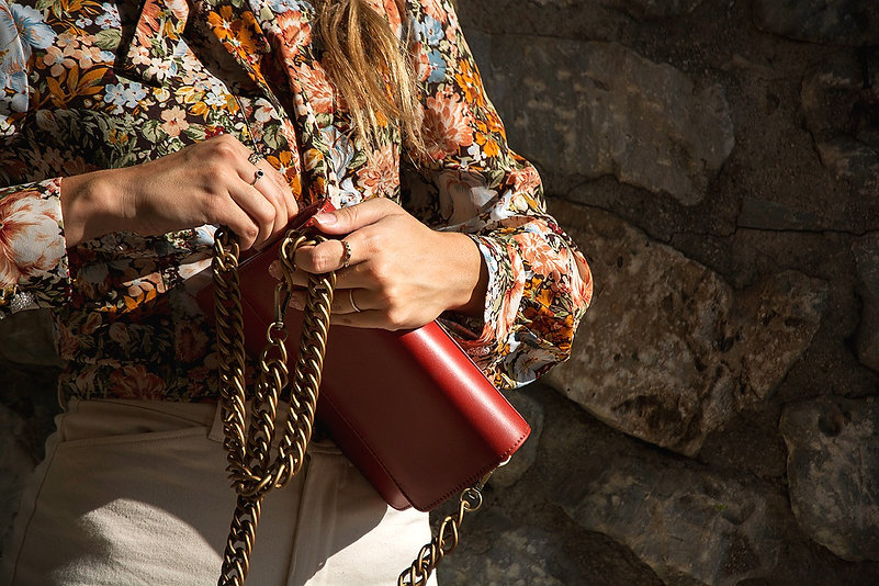 Handcrafted Chain Leather Bag | Greek Designer | Genuine Leather | Ladies Accesories