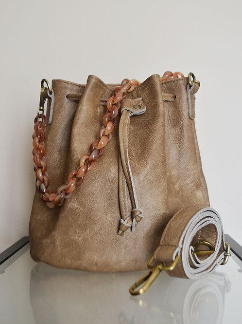 """""""Zenobia"""" Beige Bucket Bag"""