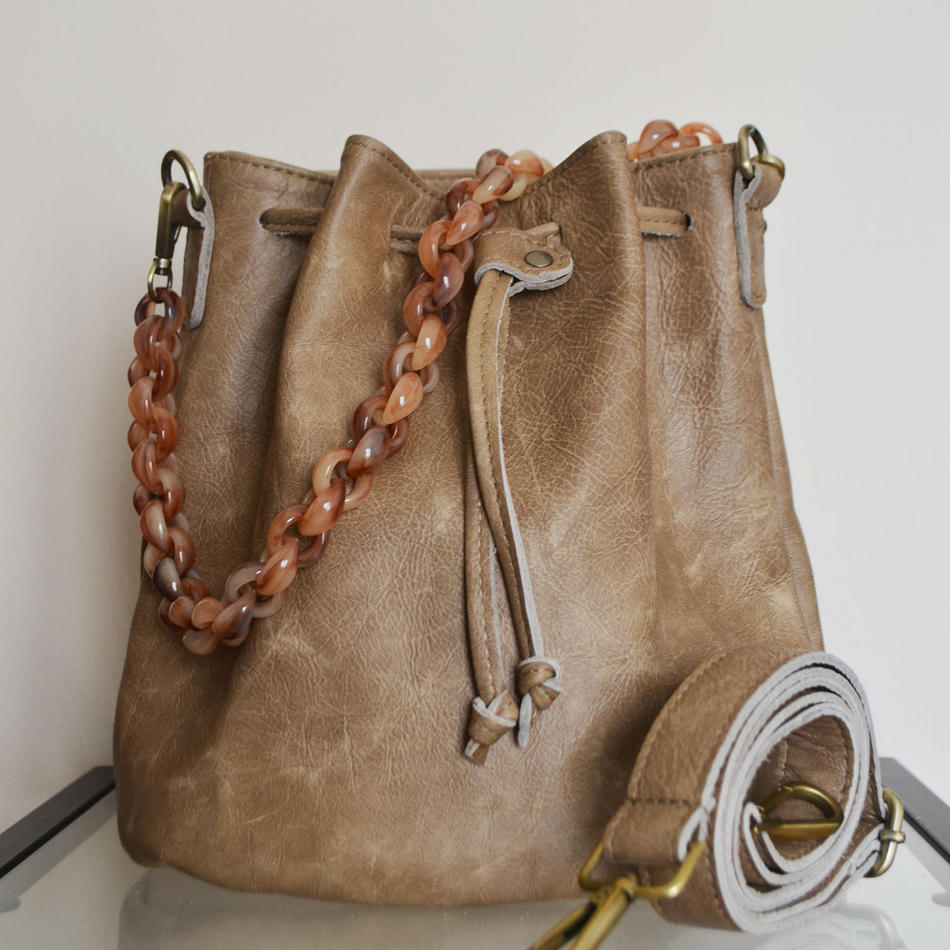 """Zenobia"" Beige Bucket Bag"