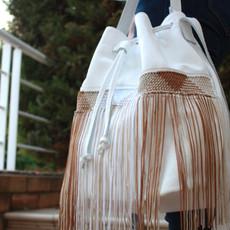 """Zenobia"" White Macrame Bucket Bag"