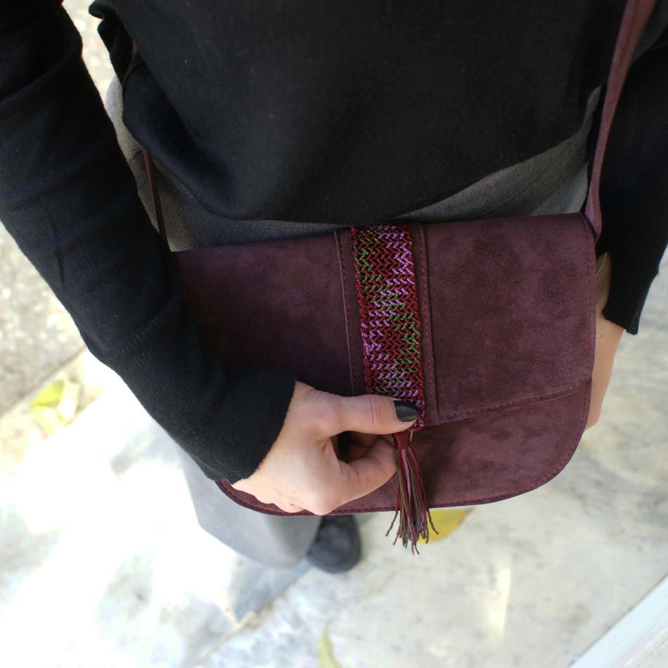 """Aurora"" Bordeaux Macrame Cross-body bag"