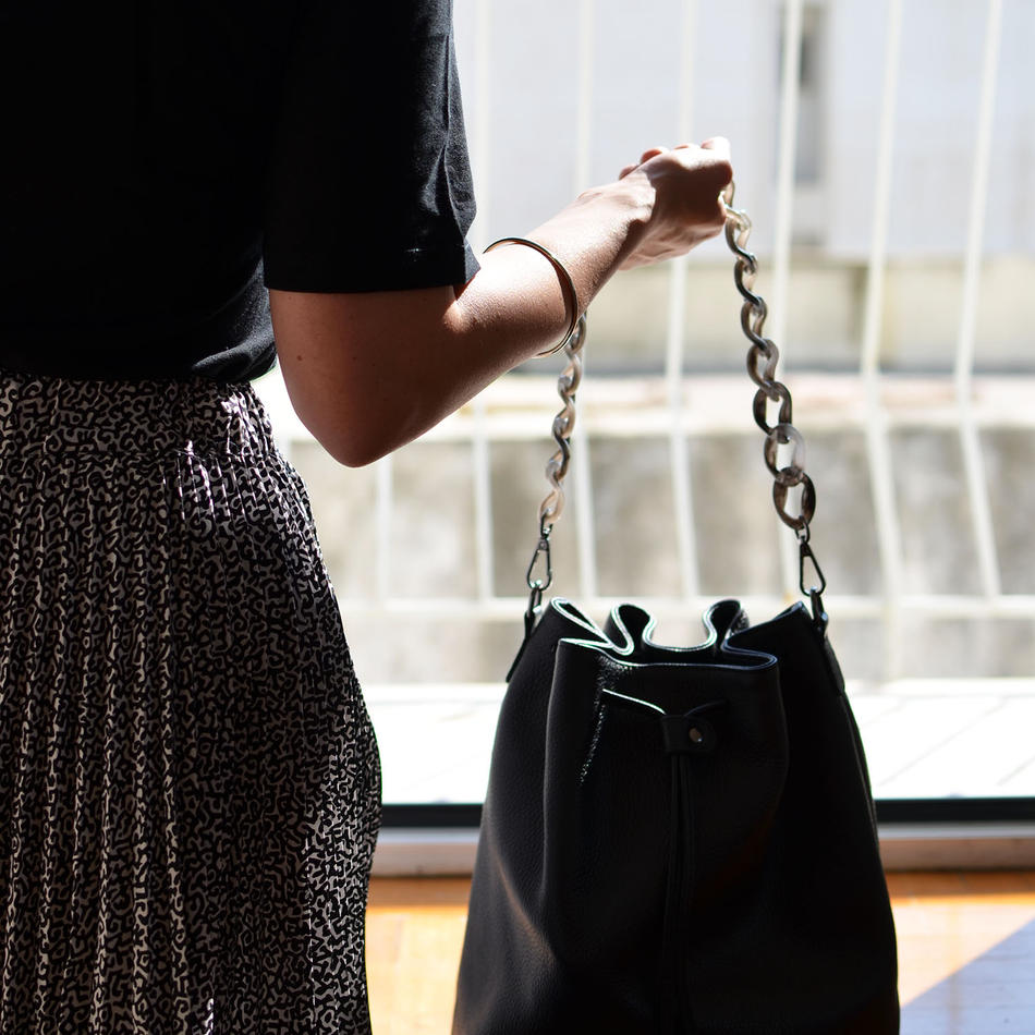 """Zenobia"" Black Bucket Bag"
