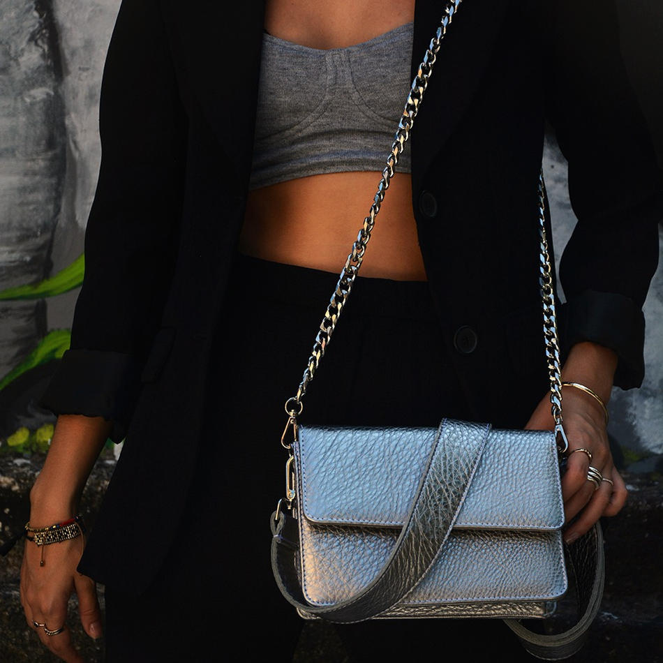 """Papilio"" Silver Cross-Body Bag"