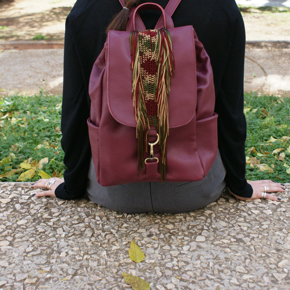 """Alexanor"" Bordeaux Macrame Backpack"