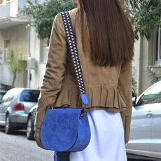 """""""Morpho"""" Blue Suede Shoulder Bag"""