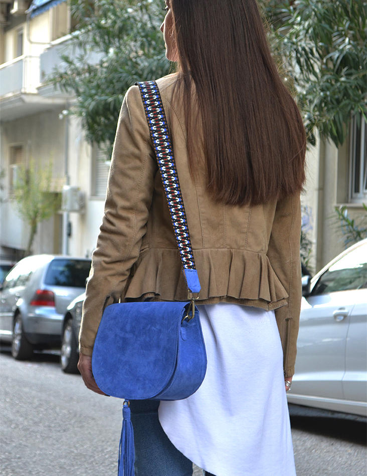 """Morpho"" Blue Suede Shoulder Bag"