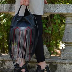 """""""Zenobia"""" Small Black Bucket Bag"""