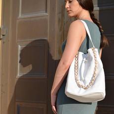 Zenobia White Bucket Bag