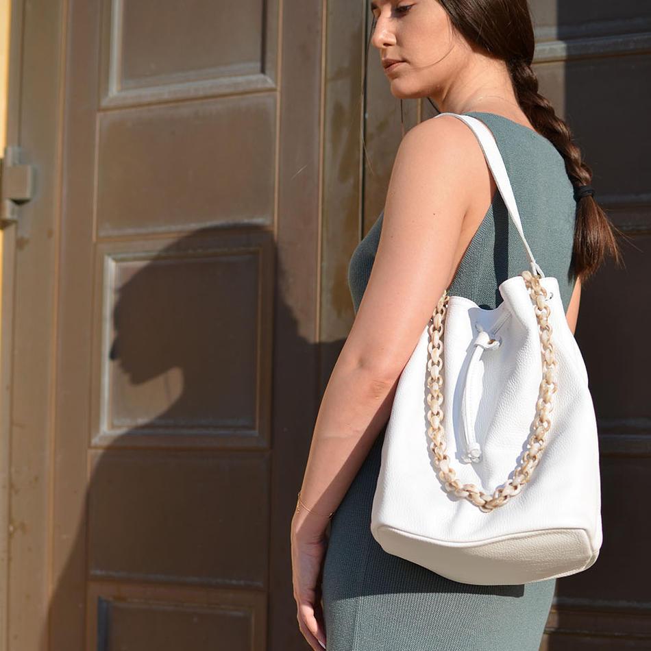 """Zenobia"" White Bucket Bag"