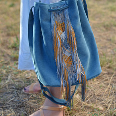 """Zenobia"" Blue Sued Bucket Bag"