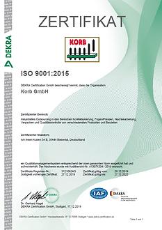 DIN EN ISO 9001:2015, KORB GmbH