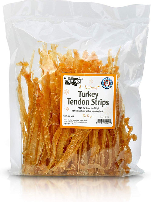 GoGo Turkey Tendon Strips Dog Chew Treats Sourced and Made in The USA - 1 Pound