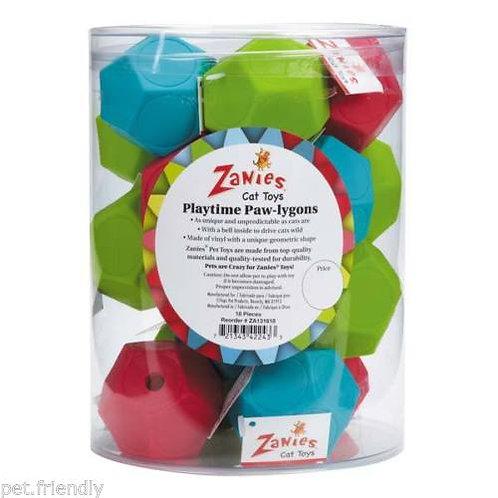 "Zanies Geometric ""Paw-lygon"" Bell Toys- 18 count"