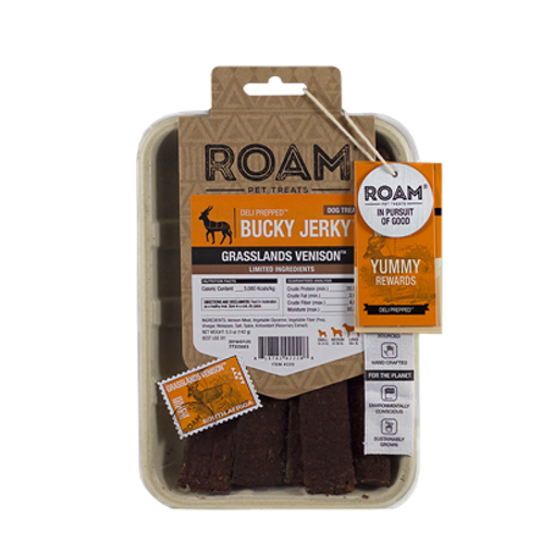ROAM Pet Treats Bucky Jerky Grasslands Venison Dog Treats, 5-oz