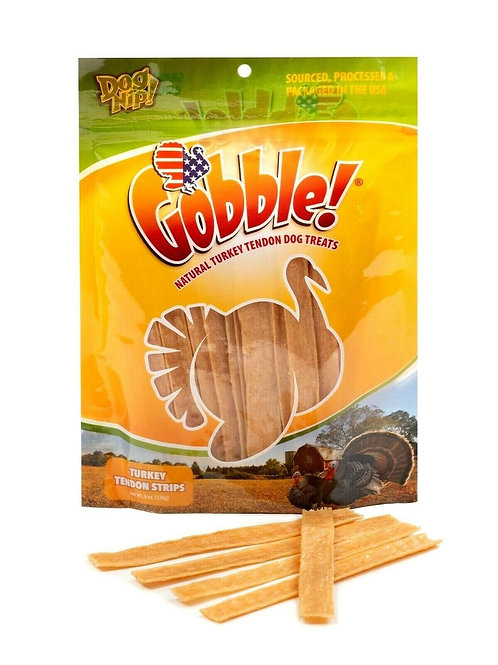 USA Turkey Tendon Strips Gobble 6 Ounce Package, 40-45 Pieces