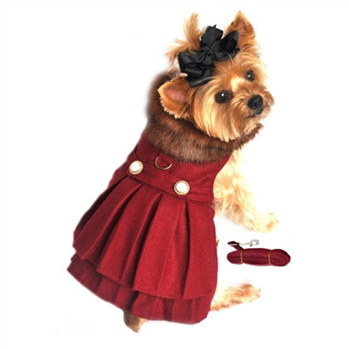 Burgundy Wool Classic Dog Coat Harness and Fur Collar with Matching Leash