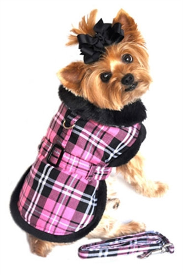 Hot Pink Plaid Coat & Leash