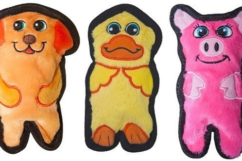 Outward Hound Mini Invincibles 3 Pack Plush Stuffing-Less Dog Toys Pig Dog Duck