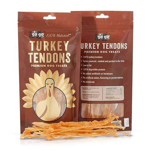 GoGo Turkey Tendon Strips Dog Chew Treats Sourced and Made in the USA, 3 oz.