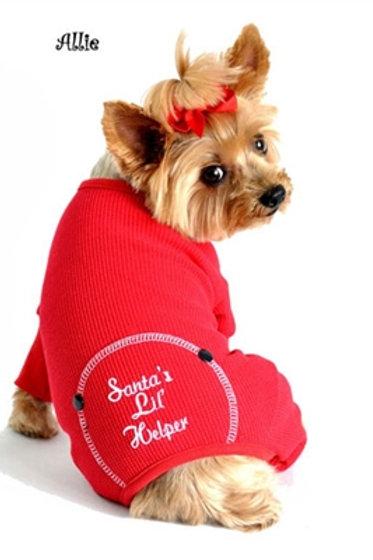 "Red ""Santa's Lil' Helper"" Embroidered Pajama"