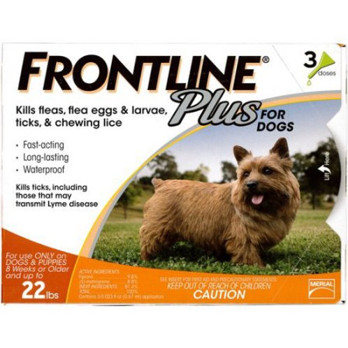 Merial Frontline Plus Flea and Tick Control for 5-22 Pound Dogs and Puppies, 3-d