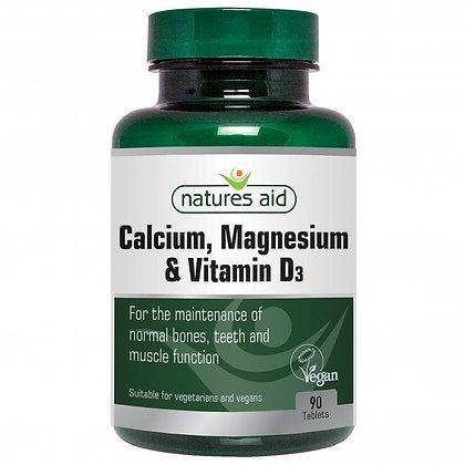 Natures Aid Calcium, Magnesium + Vitamin D3 90 Tablets