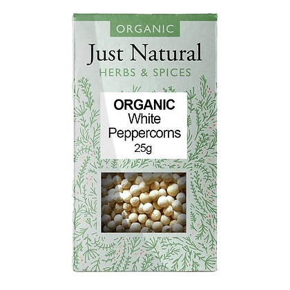 Just Natural Organic White Peppercorns 25g