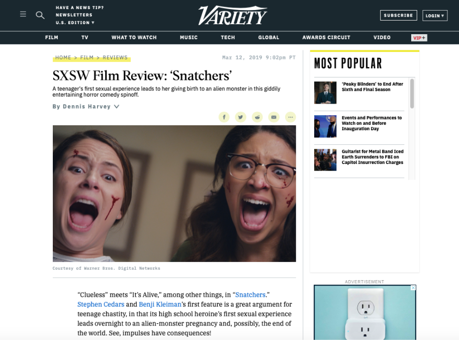 JJ Nolan SXSW Snatchers Review Variety