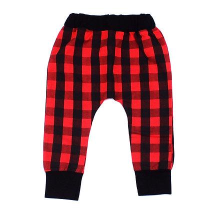 Pantalon à Carreaux Noir et Rouge