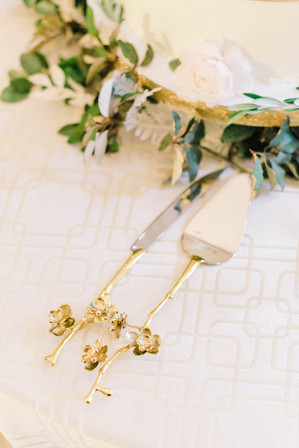 Gold Flowered Cake Cutting Utensils