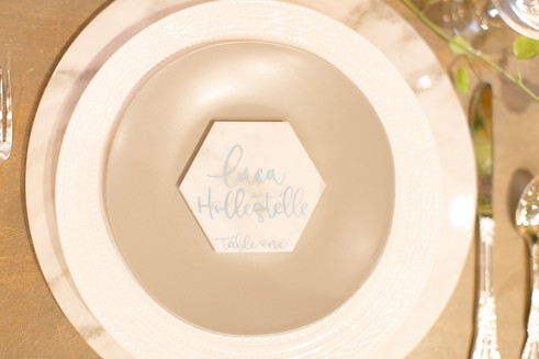 Marble Hexagon Name Place Cards