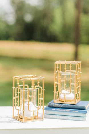 Gold Geometric Pillar Candle Holder