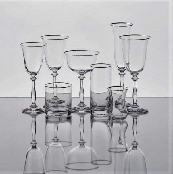 Silver rimmed Crystal glassware