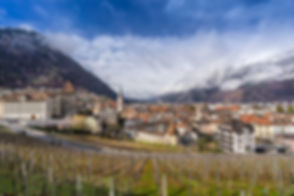 Looking across the village of Chur in so